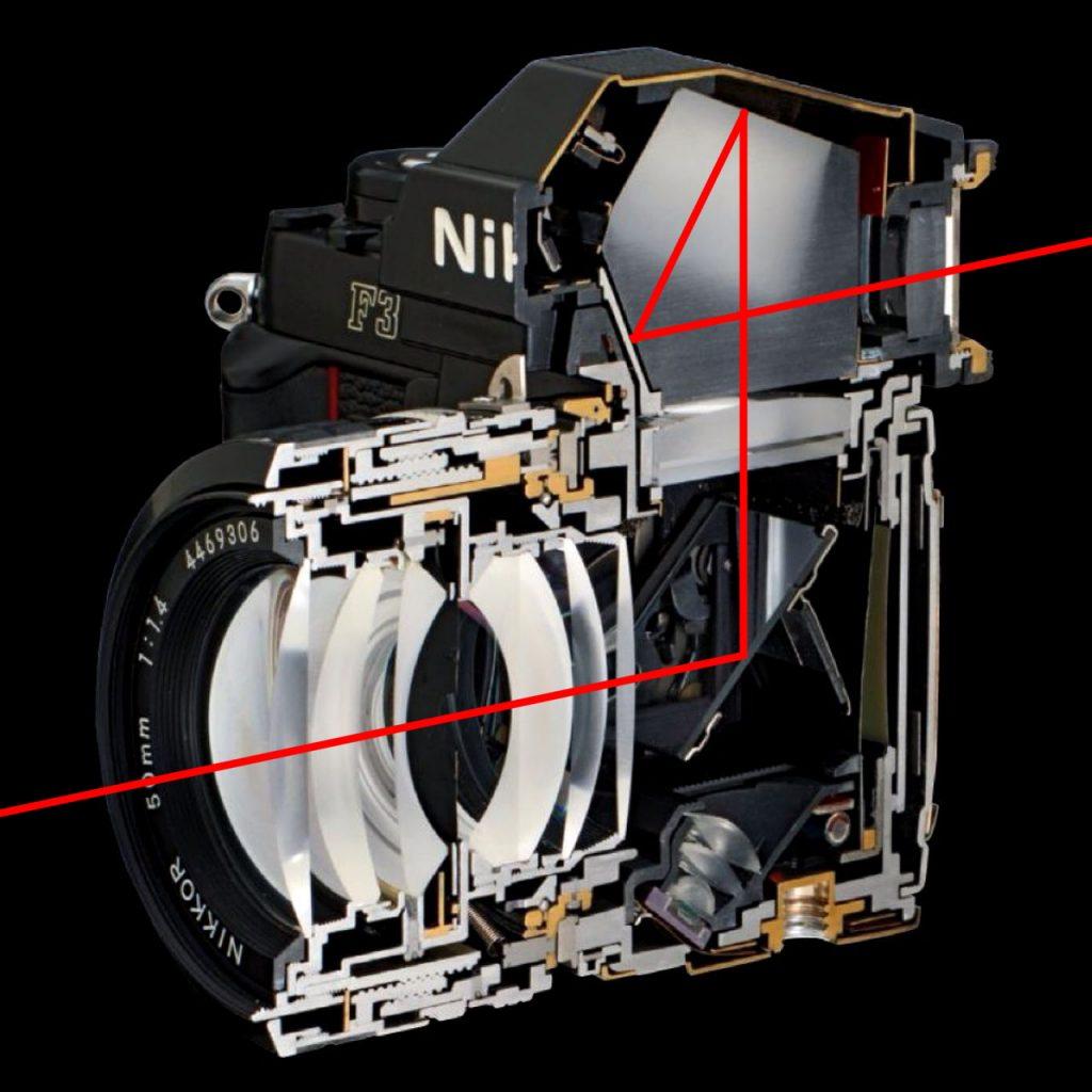 طرحی از ساختار دوربین تک لنز انعکاسی